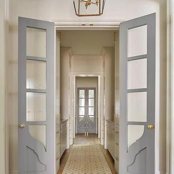 Superbe Interior Gray Bi Fold Doors With Glass Panels