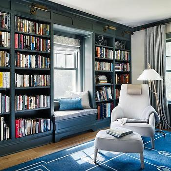 Pink And Blue Home Library Contemporary Den Library Office
