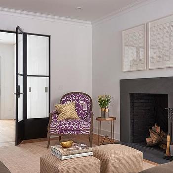 Purple Ikat Chair Next To Slate Fireplace