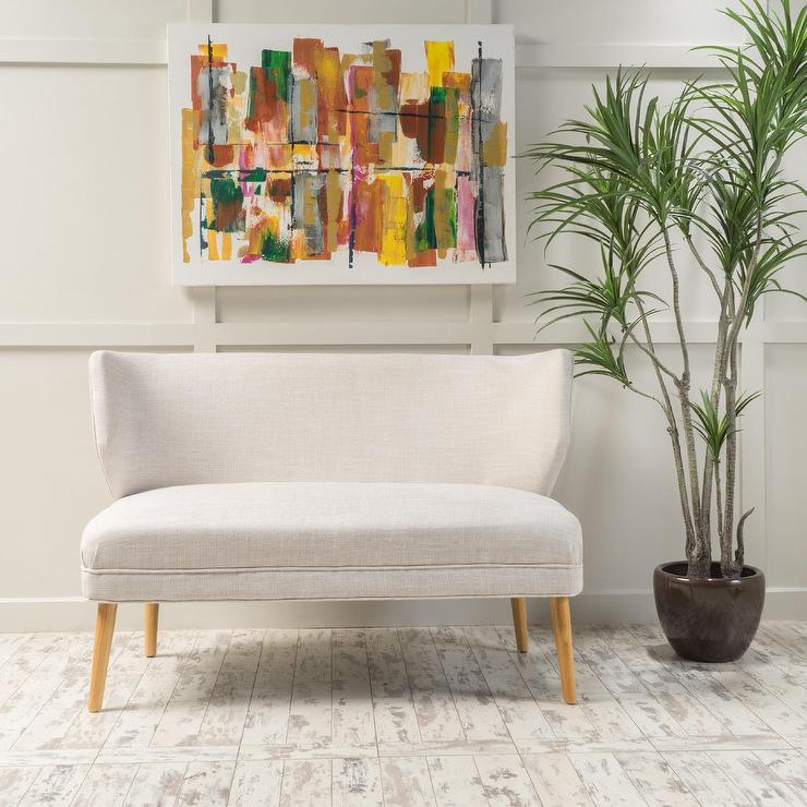 desdemona white mid century fabric love seat