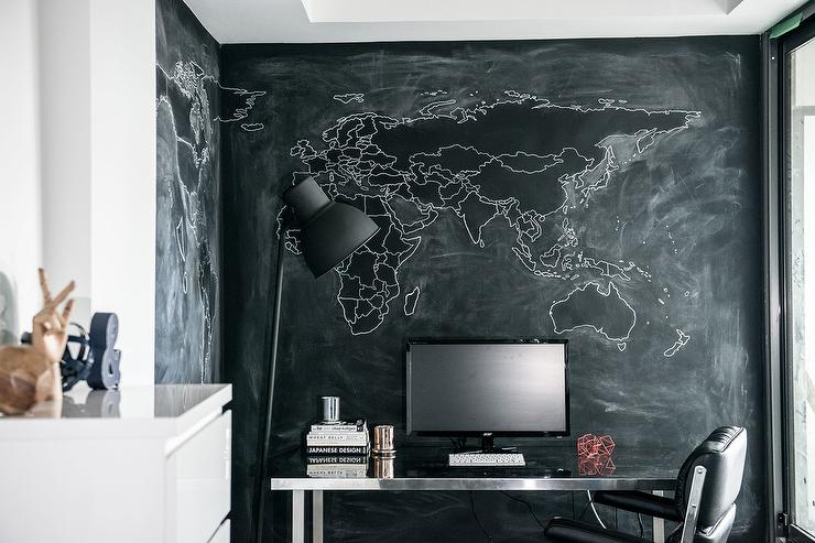Stainless Steel Desk With Black Chalkboard Walls