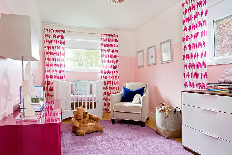 Pink Nursery with Pink Elephant Curtains - Contemporary - Nursery