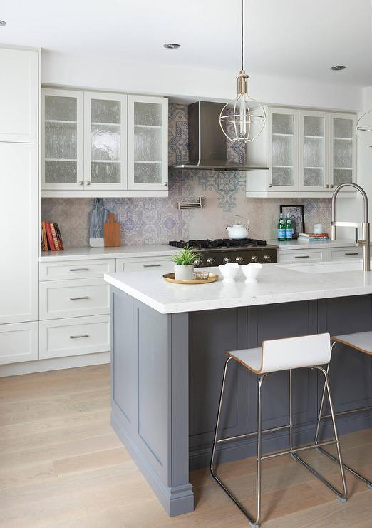 White and Gray Kitchen with Seeded Glass Cabinet Doors ...