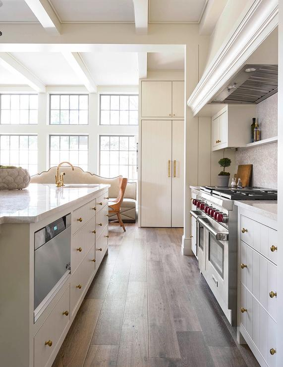 off white kitchen cabinets with plank drawers transitional kitchen