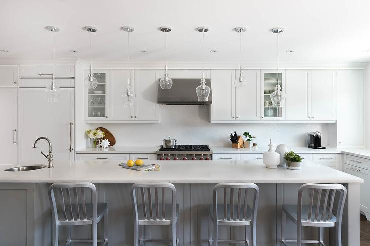 White Cabinets With Gray Quartz Counters Transitional