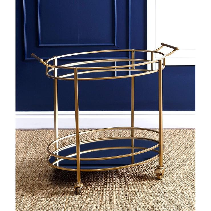 Marriott Gold Oval Mirrored Bar Cart