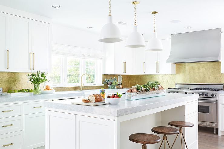 Purple Kitchen Island With Brass Pulls Contemporary