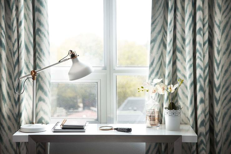 Curtains Ideas chevron curtains ikea : Ikea White Sawhorse Desk - Transitional - Bedroom
