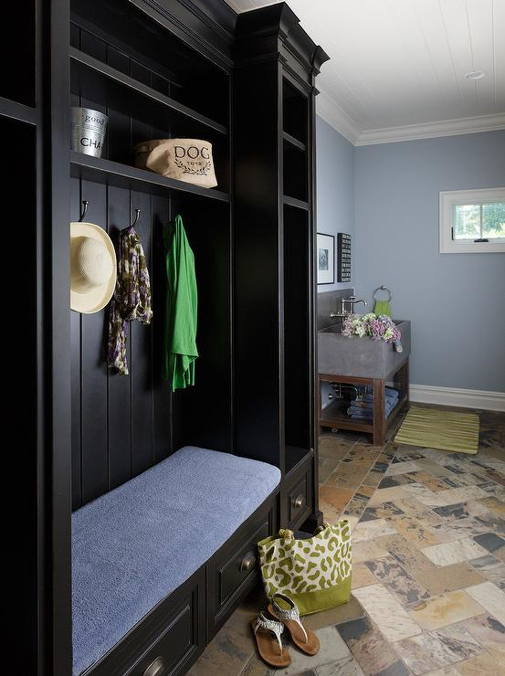 Blue Mudroom With Black Door Cottage Laundry Room