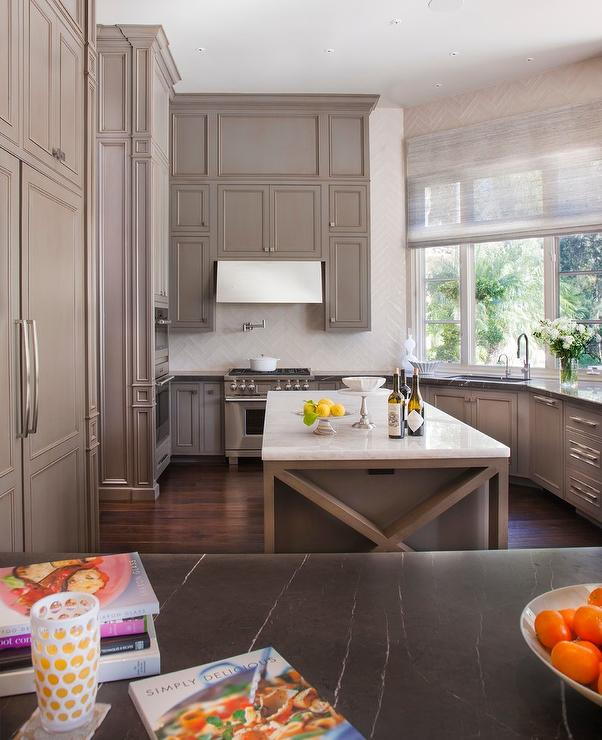 Oddly Shaped Kitchen With Gray Cabinets Transitional Kitchen
