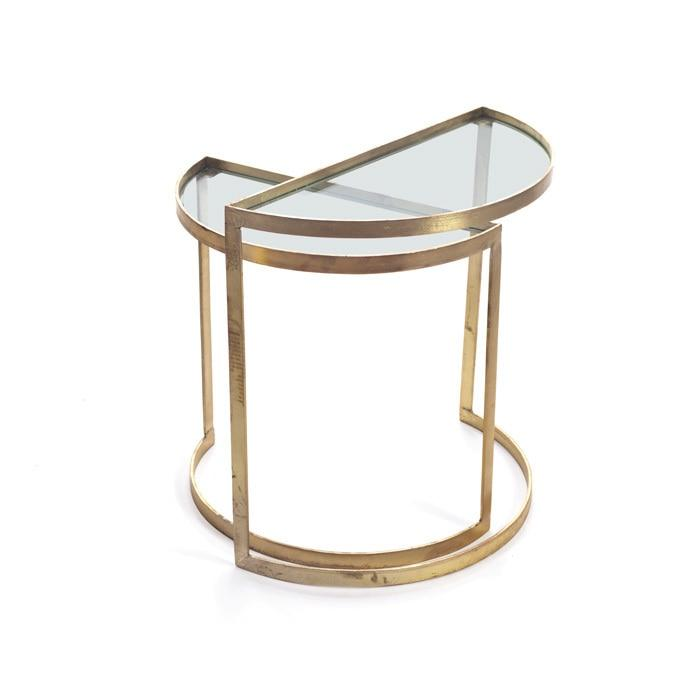 Outstanding Mid Century Modern Gold Trim Layered End Tables Download Free Architecture Designs Grimeyleaguecom