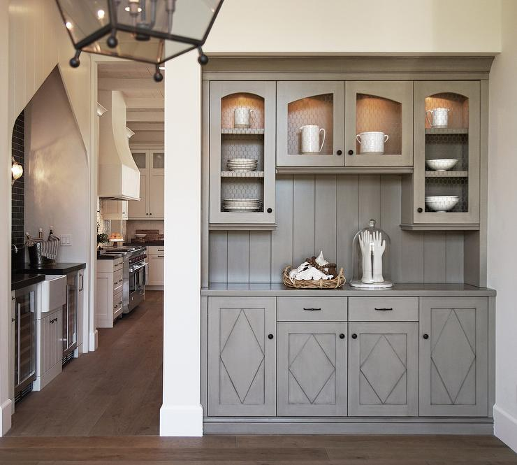 Beau Gray Butler Pantry With Chicken Wire Doors