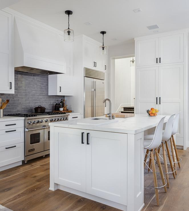 White And Gray Kitchen With Honed White Marble Countertops