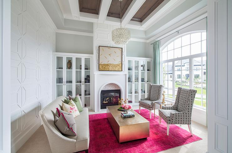 fireplace flanked by glass front bookcases - Glass Front Living Room 2016