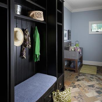 Black Mudroom Lockers Overhead Shelves