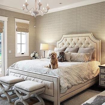 cream tufted linen bed with white nightstands - transitional - bedroom