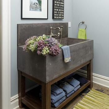 Mudroom With Wood Washstand And Concrete Sink