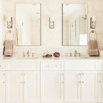 'White and Beige Bathroom with Lotus Wallpaper' from the web at 'https://cdn.decorpad.com/photos/2016/12/09/m_white-and-tan-master-bathroom-lotus-wallpaper.jpg'