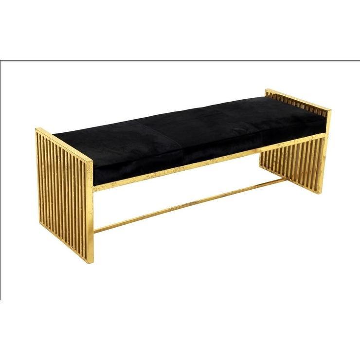 Horizon Black Leather Gold Metal Bench