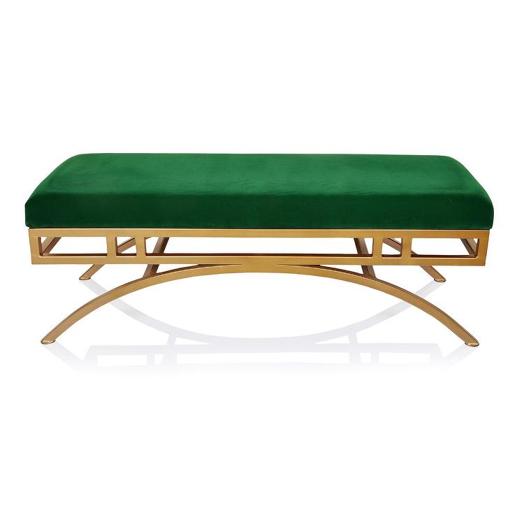 Astounding Vorana Emerald Green Velvet Brass Bench Machost Co Dining Chair Design Ideas Machostcouk