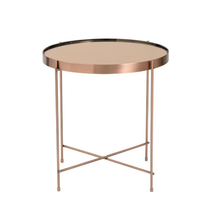 Trinity Round Copper Steel Glass Side Table