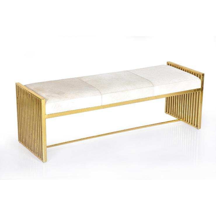 Outstanding Modern White Hide Metal Bench Pabps2019 Chair Design Images Pabps2019Com