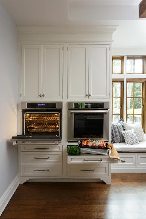 Side By Side Wall Ovens Transitional Kitchen