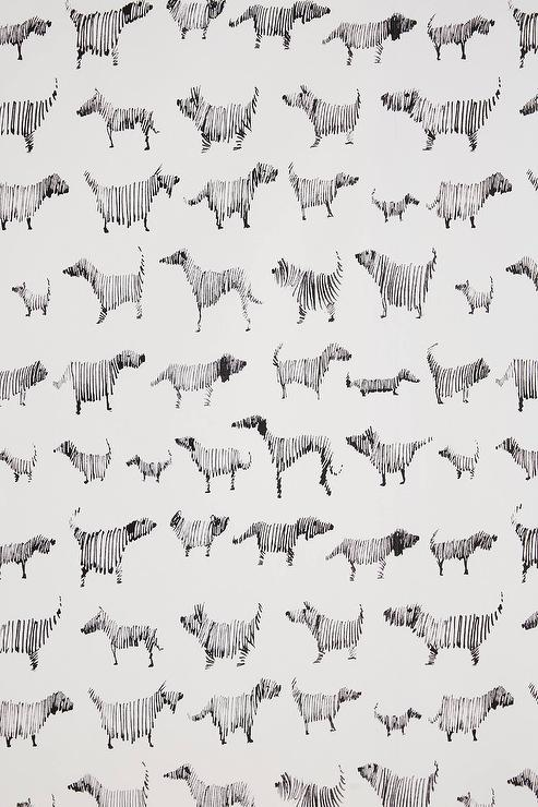 Black White Dog Pattern Wallpaper