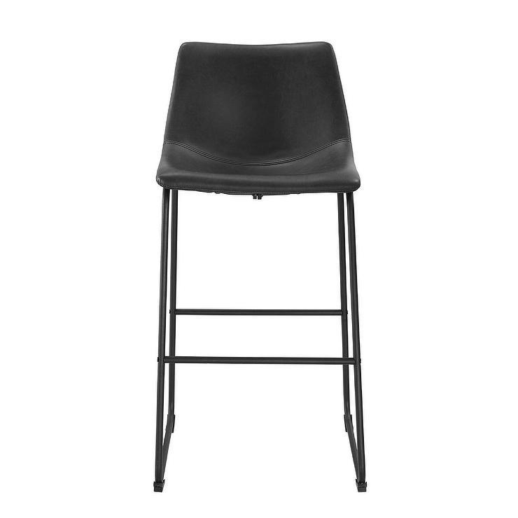 Black Faux Leather Steel Leg Barstools