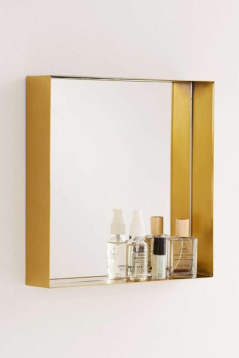 Wesley Black Bathroom Mirror With Shelf