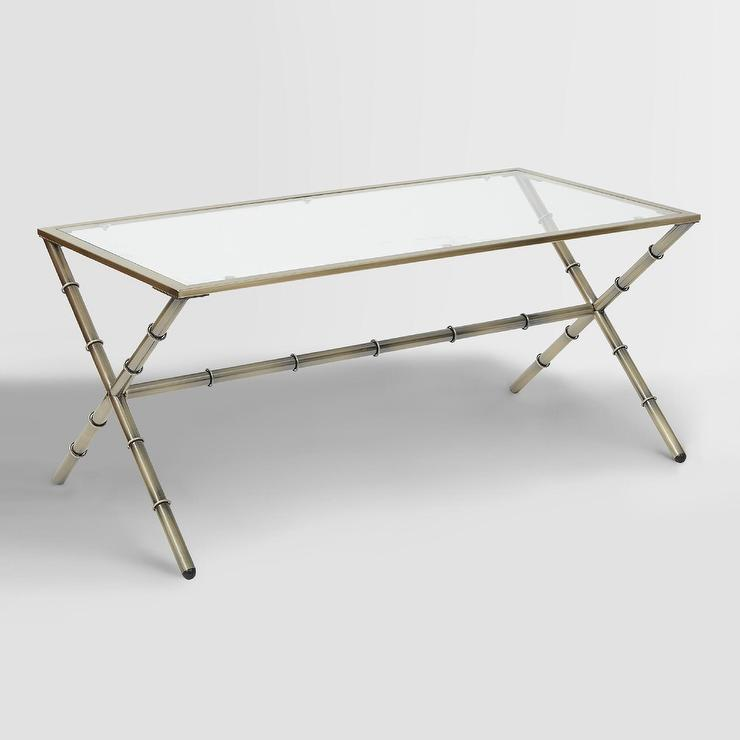 antique brass sana glass top coffee table