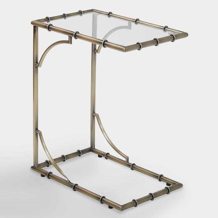 Antique Brass And Glass Sana Side Table
