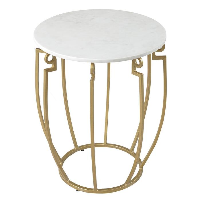 Arris Gold Marble Top Accent Table
