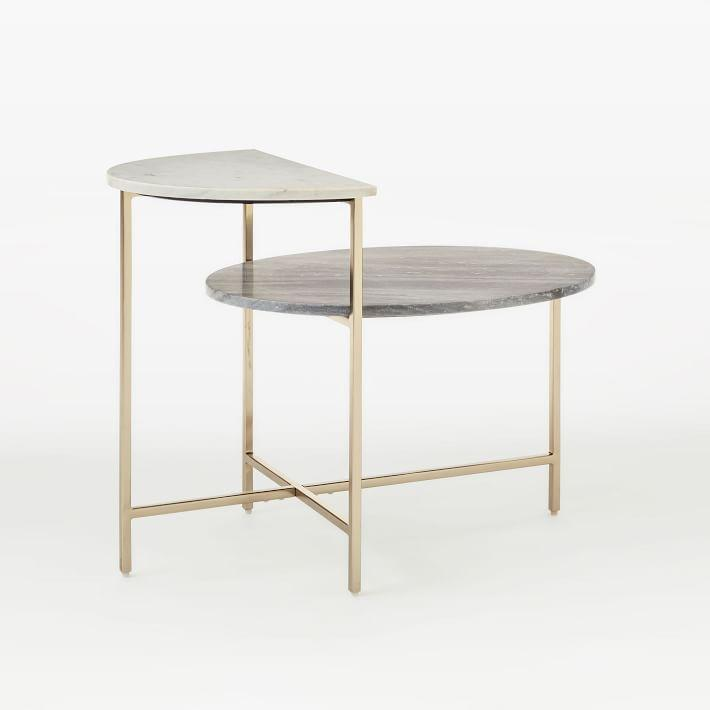 Great Marble Geo Stepped Side Table
