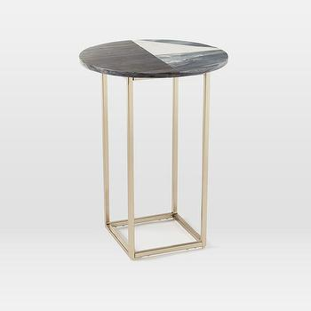 Marquetry Marble Side Table
