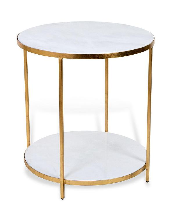 Carson White Marble Gold End Table
