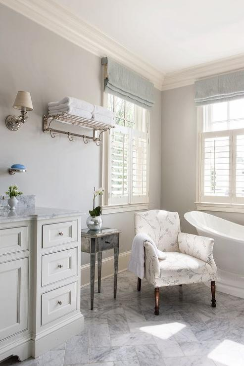 Gray Bathroom With Blue Linen Roman Shades Amazing Ideas