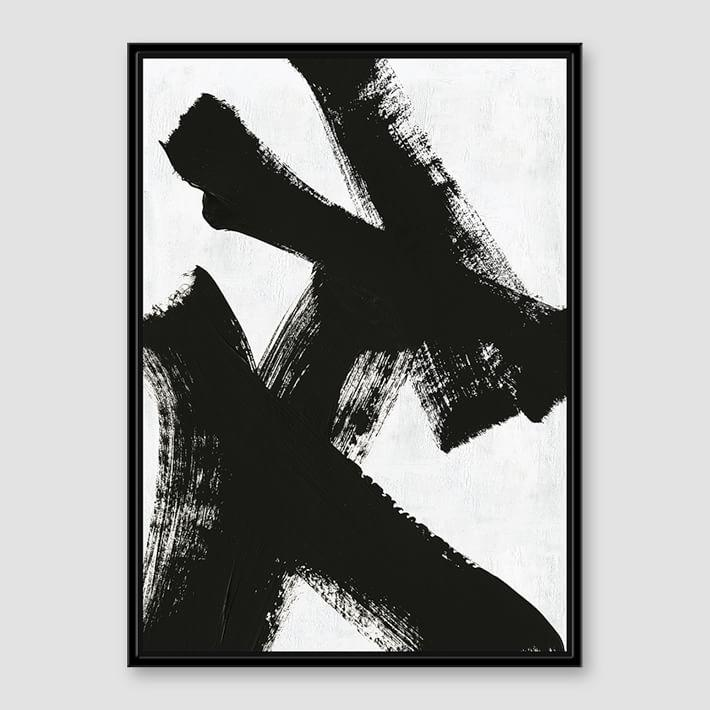 Black white brush stroke art canvas