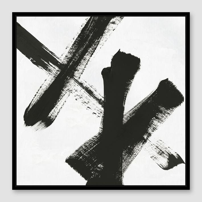 Framed black white abstract strokes canvas
