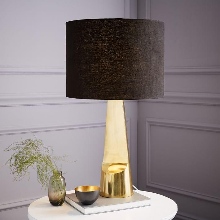 Sculptural Brass Metal Table Lamp
