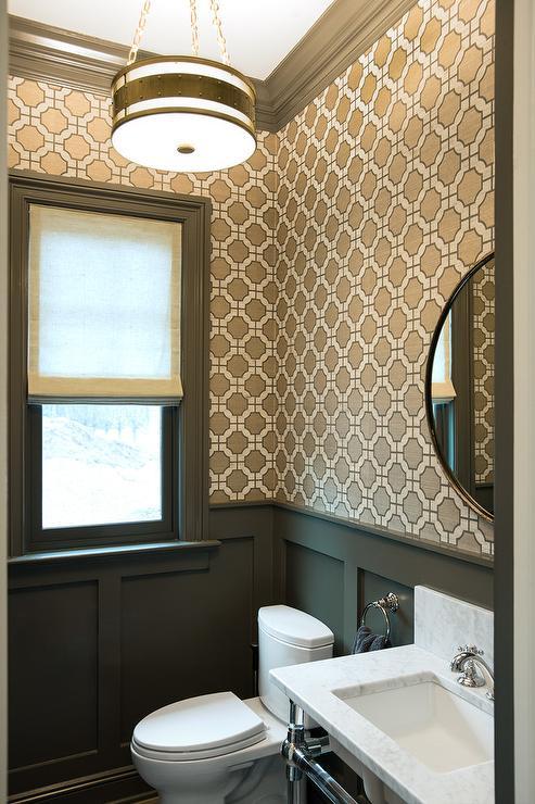 Geometric Wallpaper Contemporary Bathroom Evars And Anderson