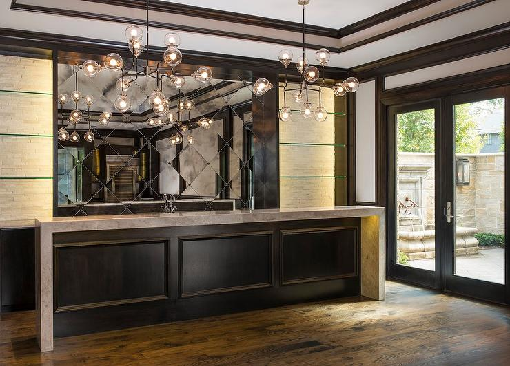 Espresso Stained Bar Wainscoting Contemporary Living Room