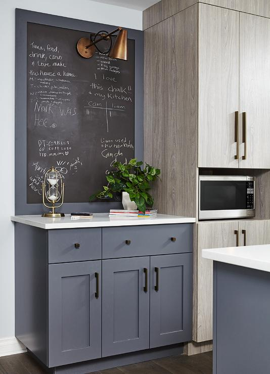 Gray Framed Kitchen Chalkboard Contemporary Kitchen
