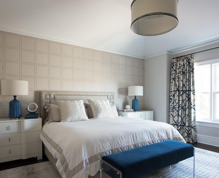 Bedroom Light Gray Rivet Wallpaper Contemporary Bedroom