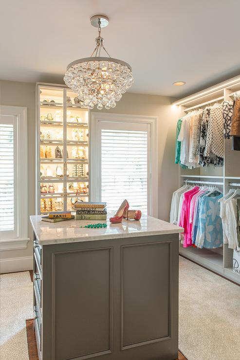 Robert Abbey Bling Chandelier Over Gray Closet Island