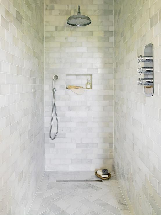 Marble Herringbone Shower Floor Tiles Transitional