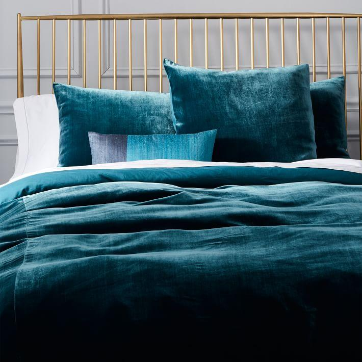 Luxe Midnight Blue Velvet Duvet Cover Shams