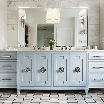 boy bathroom with blue buffalo check roman shade. Black Bedroom Furniture Sets. Home Design Ideas