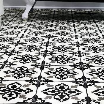 Gray And Black Mosaic Fleur De Lis Tiles