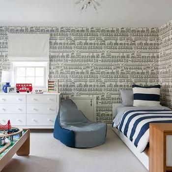Blue And Gray Boy Bedroom With Train Wallpaper